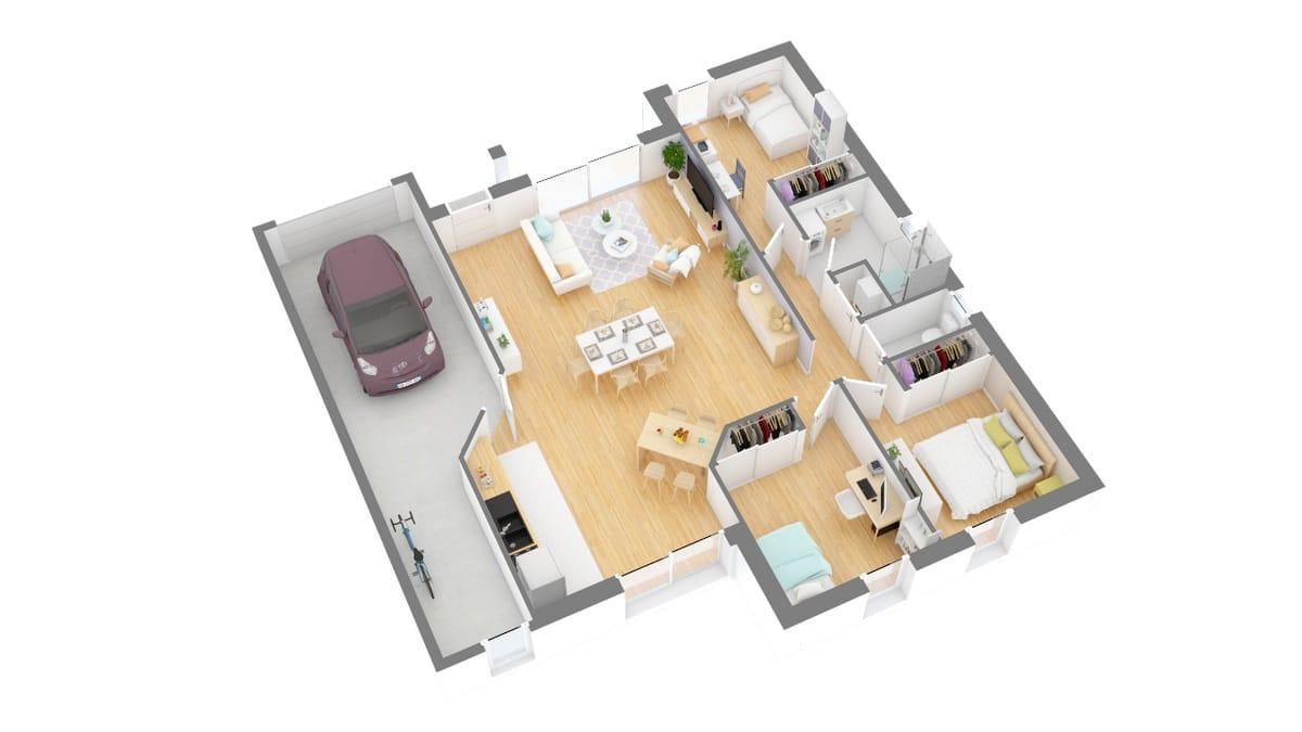 Maison Perigny _T4_90_GI_Tuiles-g0-axo_rdc