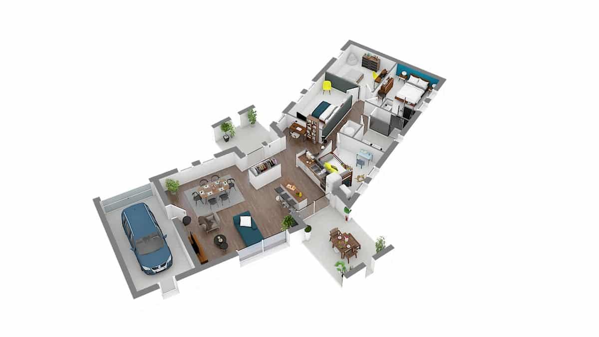 groupe_Vertium Maisons Privat modele contemporain avec plan en V